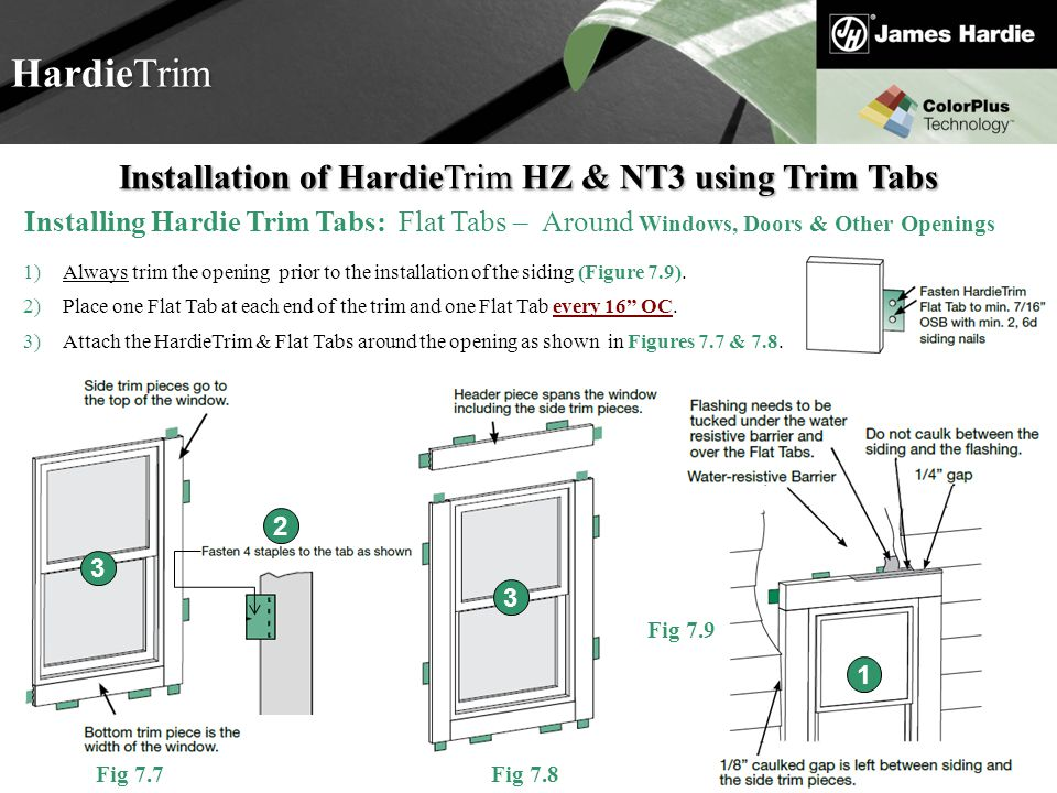 Text goes here Agenda HardieTrim Installation of HardieTrim HZ & NT3 using Trim Tabs Installing Hardie Trim Tabs: Flat Tabs – Around Windows, Doors &