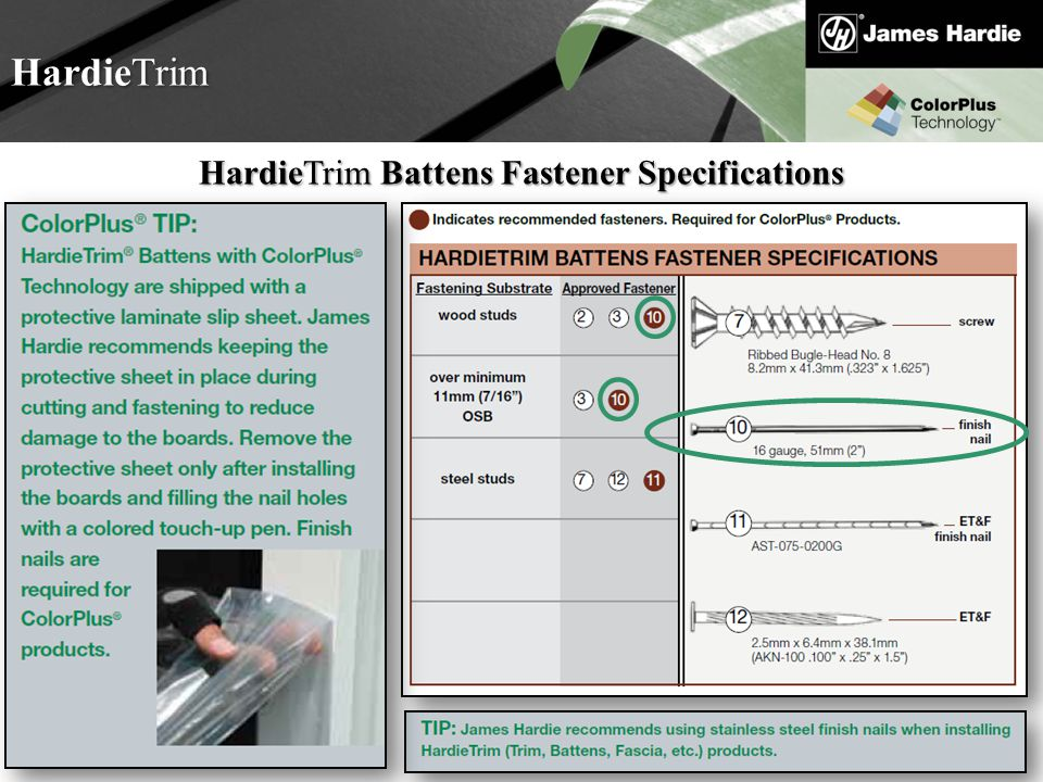 Text goes here Agenda HardieTrim HardieTrim Battens Fastener Specifications