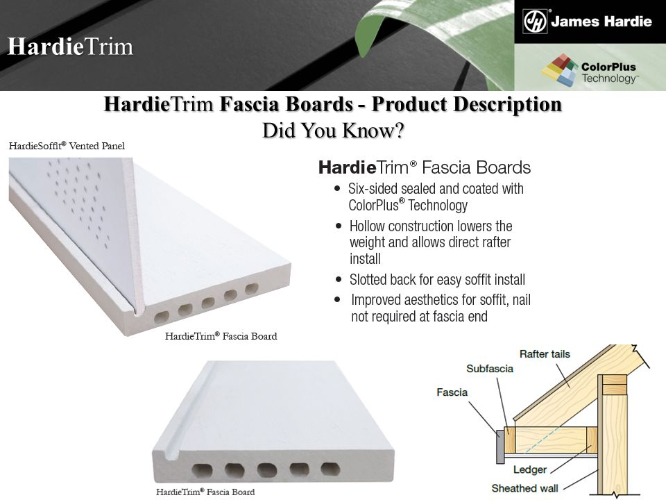 Text goes here Agenda HardieTrim HardieTrim Fascia Boards - Product Description Did You Know?