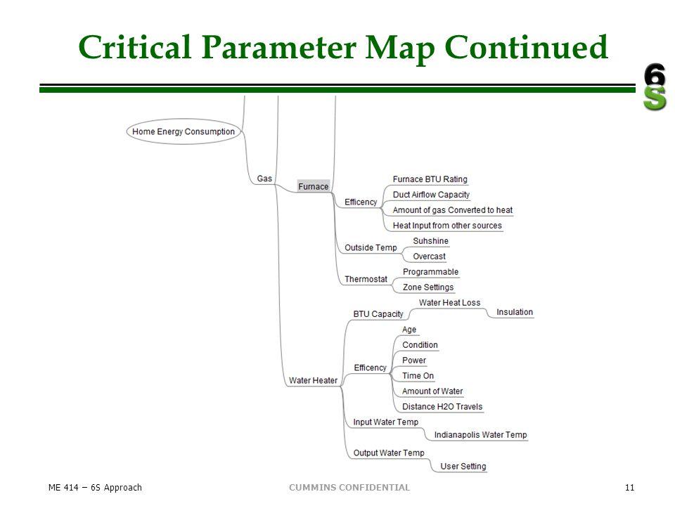 CUMMINS CONFIDENTIAL Critical Parameter Map Continued ME 414 – 6S Approach11