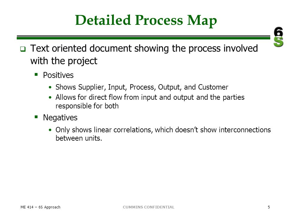 CUMMINS CONFIDENTIAL Detailed Process Map Text oriented document showing the process involved with the project Positives Shows Supplier, Input, Proces