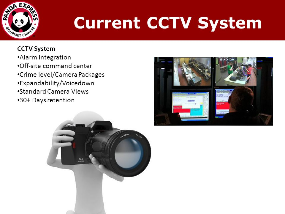 CCTV System Alarm Integration Off-site command center Crime level/Camera Packages Expandability/Voicedown Standard Camera Views 30+ Days retention Current CCTV System