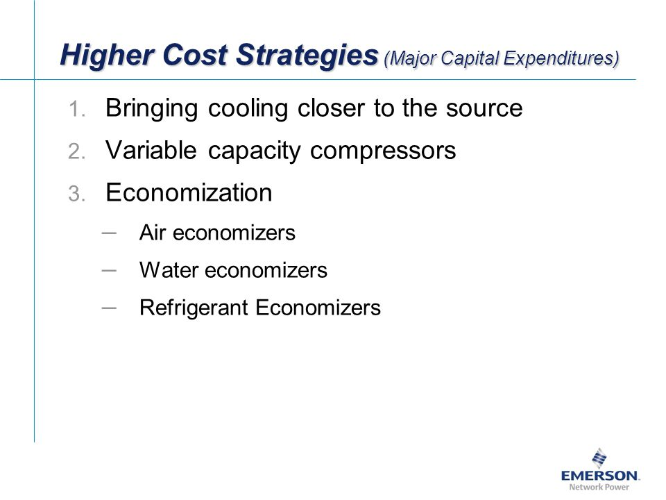 Higher Cost Strategies (Major Capital Expenditures) 1.