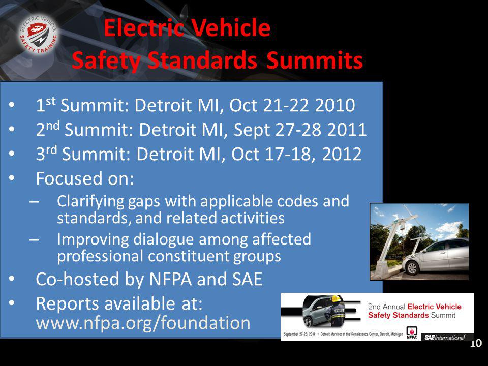 National Fire Protection Association ELECTRIC VEHICLE SAFETY FOR EMERGENCY RESPONDERS Electric Vehicle Safety Standards Summits 1 st Summit: Detroit MI, Oct 21-22 2010 2 nd Summit: Detroit MI, Sept 27-28 2011 3 rd Summit: Detroit MI, Oct 17-18, 2012 Focused on: – Clarifying gaps with applicable codes and standards, and related activities – Improving dialogue among affected professional constituent groups Co-hosted by NFPA and SAE Reports available at: www.nfpa.org/foundation 10