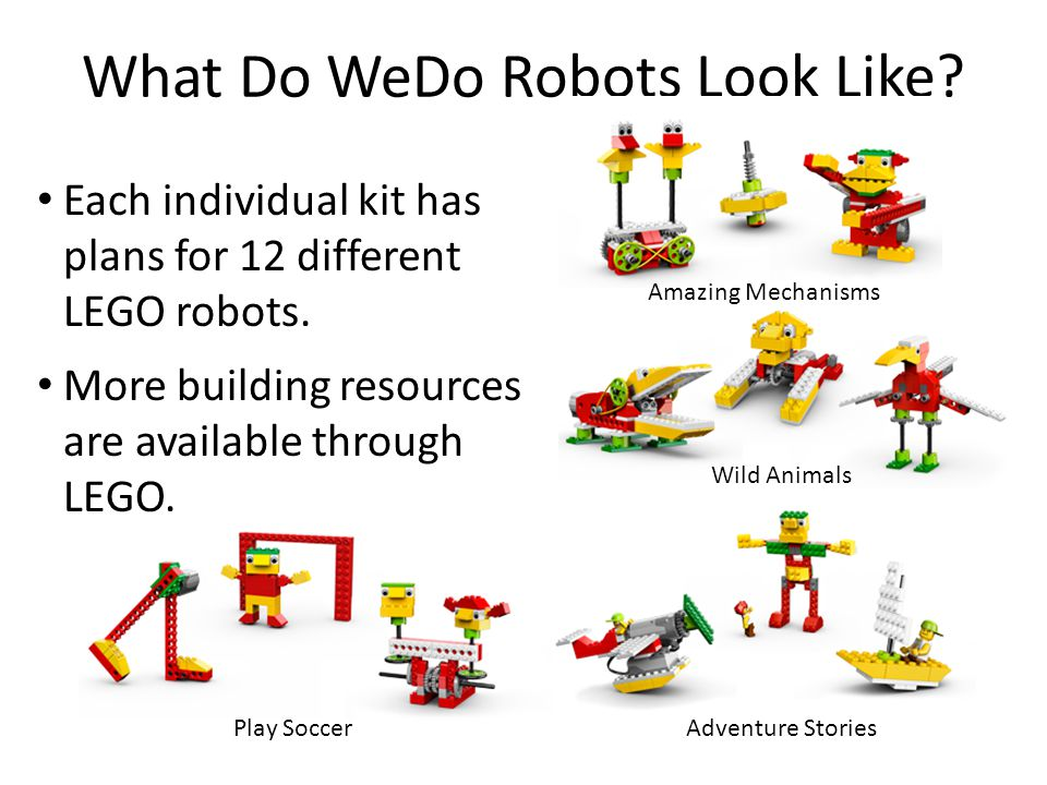 Each individual kit has plans for 12 different LEGO robots. More building resources are available through LEGO. What Do WeDo Robots Look Like? Amazing