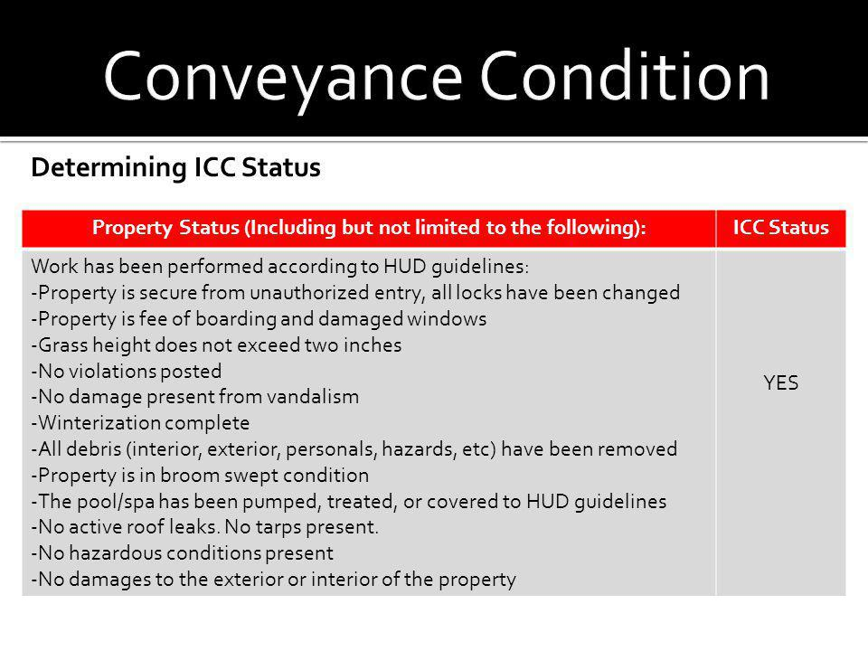 Determining ICC Status Property Status (Including but not limited to the following):ICC Status Work has been performed according to HUD guidelines: -P