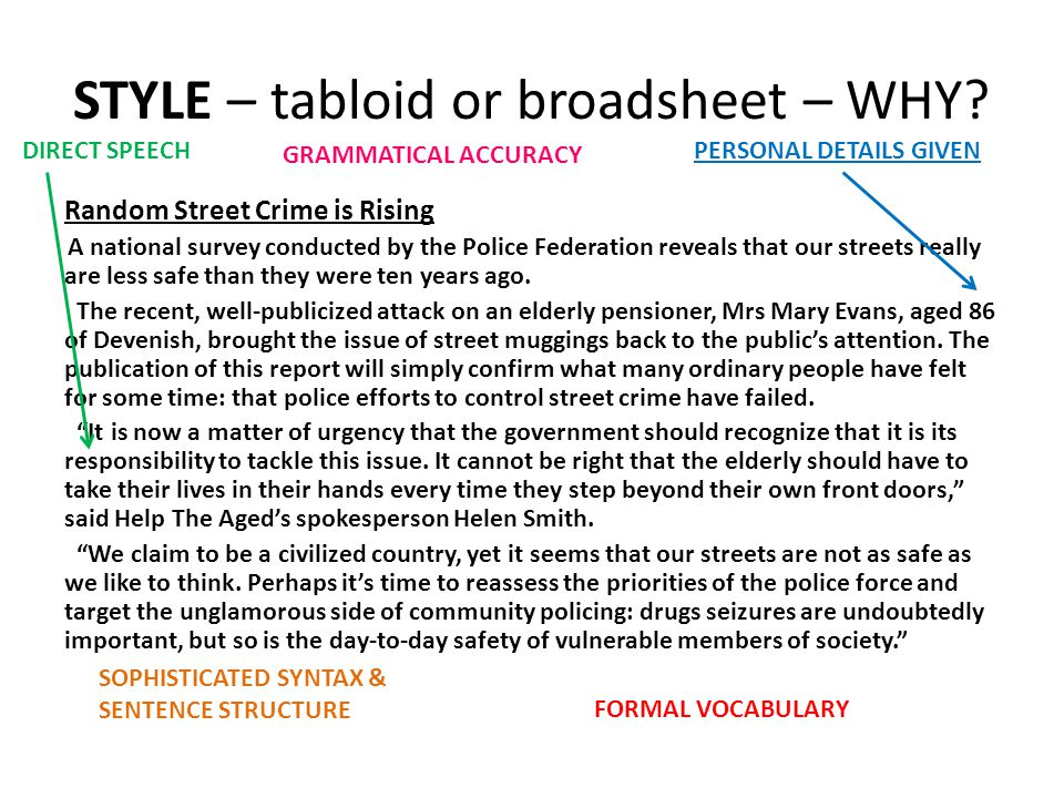 STYLE – tabloid or broadsheet – WHY? Random Street Crime is Rising A national survey conducted by the Police Federation reveals that our streets reall