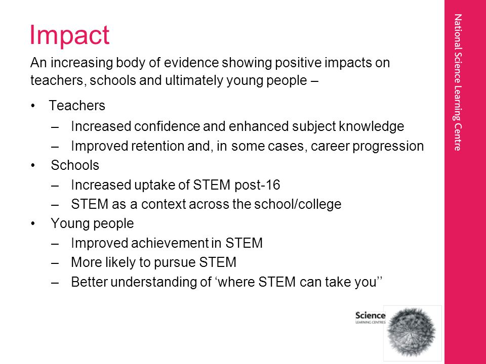 Impact An increasing body of evidence showing positive impacts on teachers, schools and ultimately young people – Teachers –Increased confidence and e