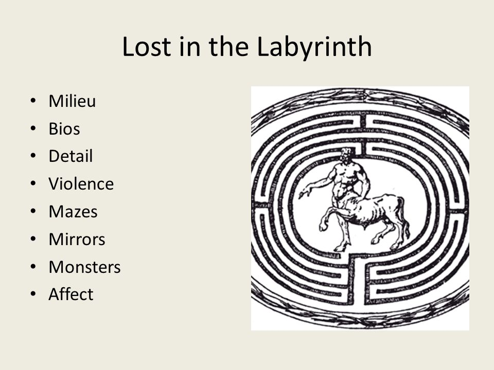 Lost in the Labyrinth Milieu Bios Detail Violence Mazes Mirrors Monsters Affect