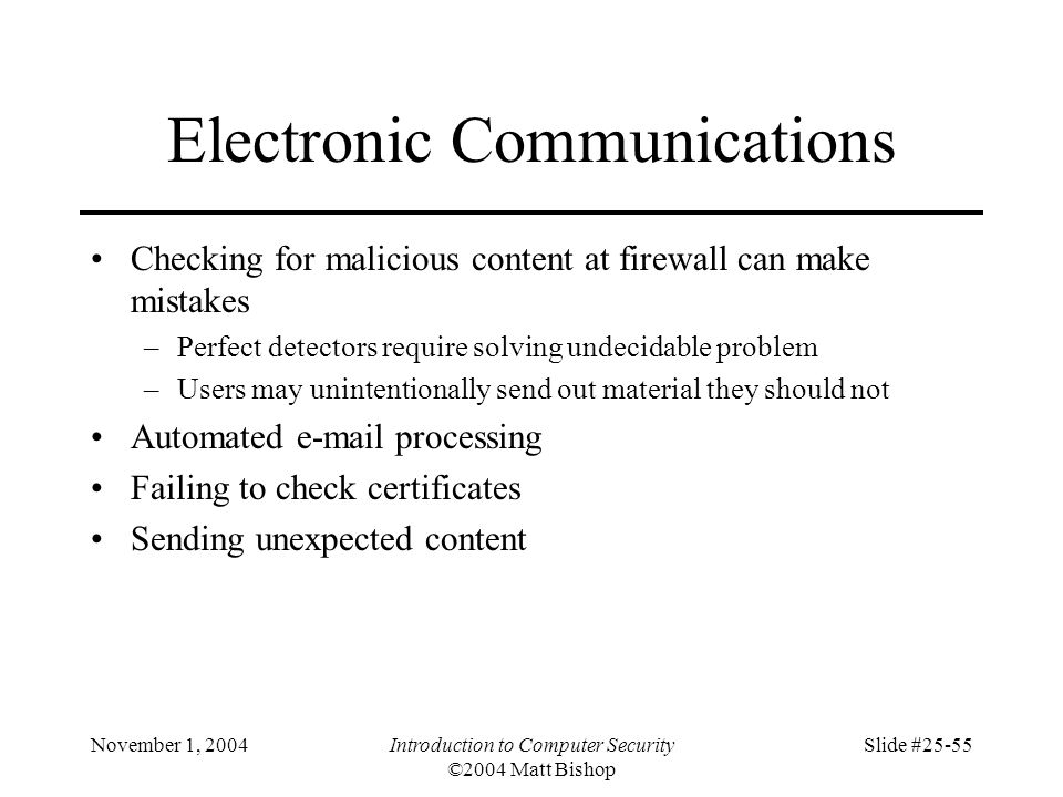November 1, 2004Introduction to Computer Security ©2004 Matt Bishop Slide #25-55 Electronic Communications Checking for malicious content at firewall