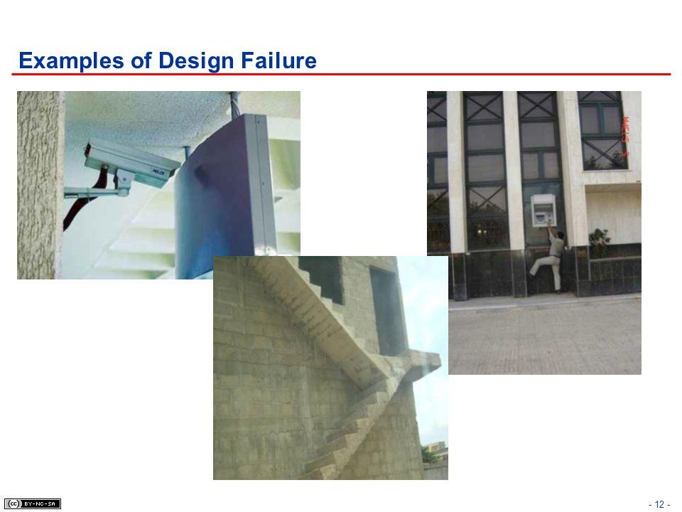 Examples of Design Failure - 12 -
