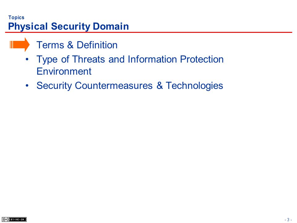 - 3 - Topics Physical Security Domain Terms & Definition Type of Threats and Information Protection Environment Security Countermeasures & Technologie