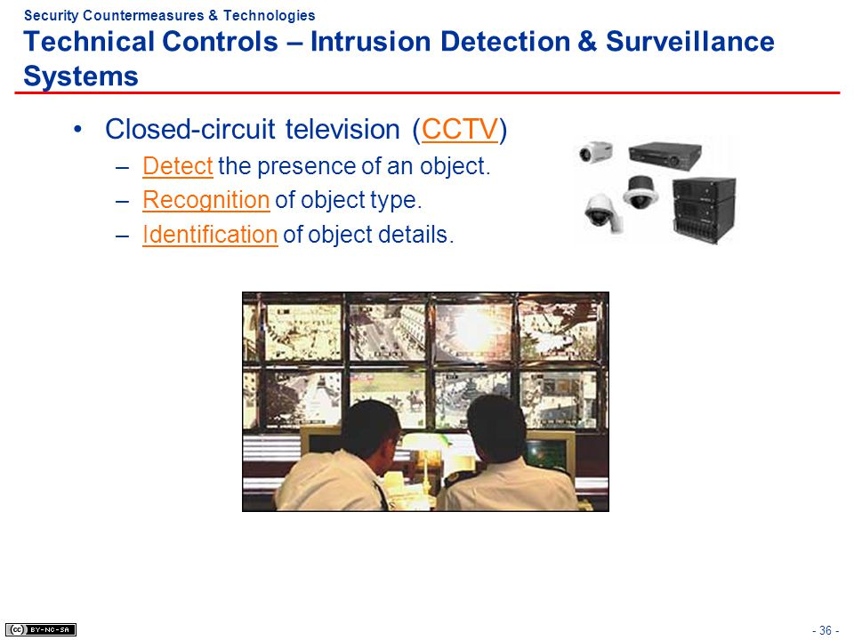 - 36 - Security Countermeasures & Technologies Technical Controls – Intrusion Detection & Surveillance Systems Closed-circuit television (CCTV) –Detec