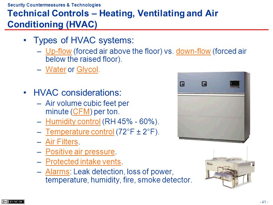 - 41 - Security Countermeasures & Technologies Technical Controls – Heating, Ventilating and Air Conditioning (HVAC) Types of HVAC systems: –Up-flow (