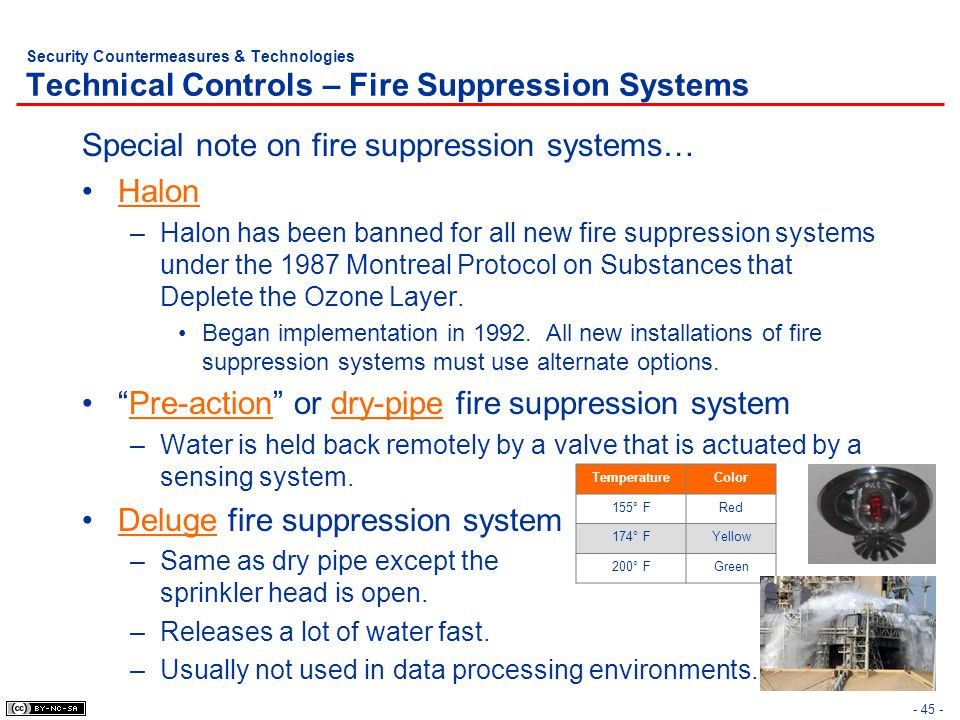 - 45 - Security Countermeasures & Technologies Technical Controls – Fire Suppression Systems Special note on fire suppression systems… Halon –Halon ha