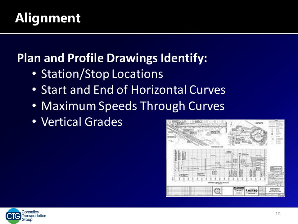 Alignment Plan and Profile Drawings Identify: Station/Stop Locations Start and End of Horizontal Curves Maximum Speeds Through Curves Vertical Grades 10