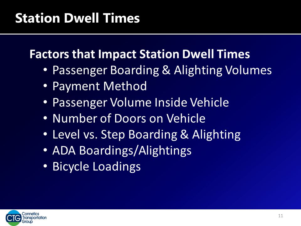 Station Dwell Times Factors that Impact Station Dwell Times Passenger Boarding & Alighting Volumes Payment Method Passenger Volume Inside Vehicle Number of Doors on Vehicle Level vs.