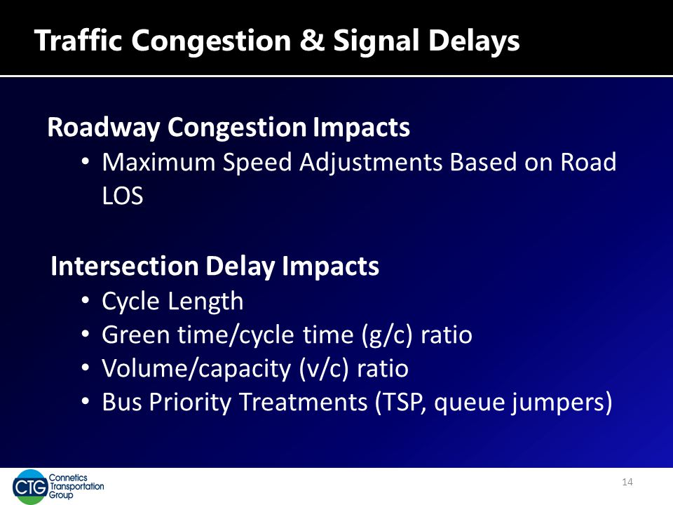Traffic Congestion & Signal Delays Roadway Congestion Impacts Maximum Speed Adjustments Based on Road LOS Intersection Delay Impacts Cycle Length Gree