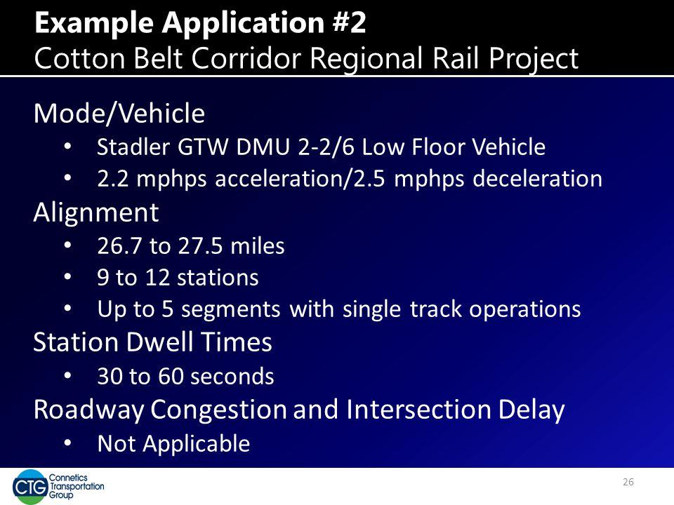 Example Application #2 Cotton Belt Corridor Regional Rail Project Mode/Vehicle Stadler GTW DMU 2-2/6 Low Floor Vehicle 2.2 mphps acceleration/2.5 mphp
