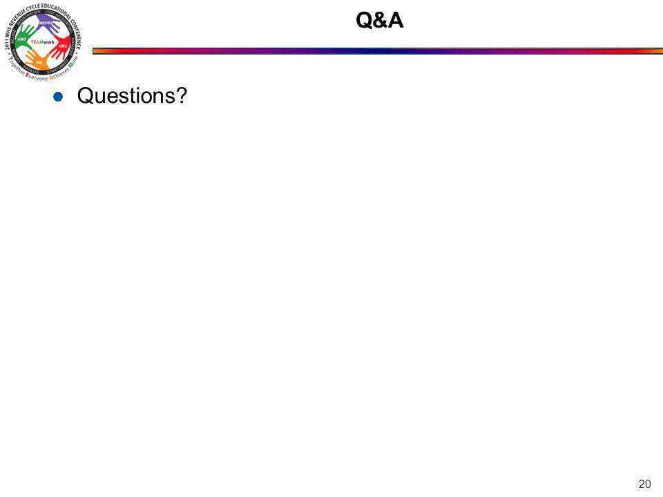 Q&A Questions? 20