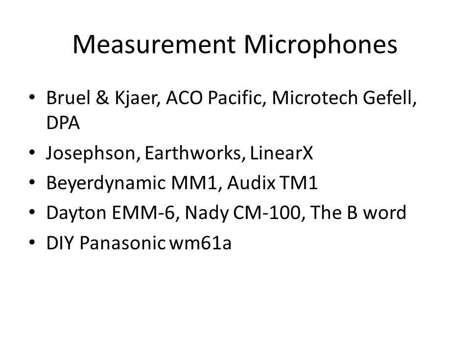 Measurement Microphones Bruel & Kjaer, ACO Pacific, Microtech Gefell, DPA Josephson, Earthworks, LinearX Beyerdynamic MM1, Audix TM1 Dayton EMM-6, Nad