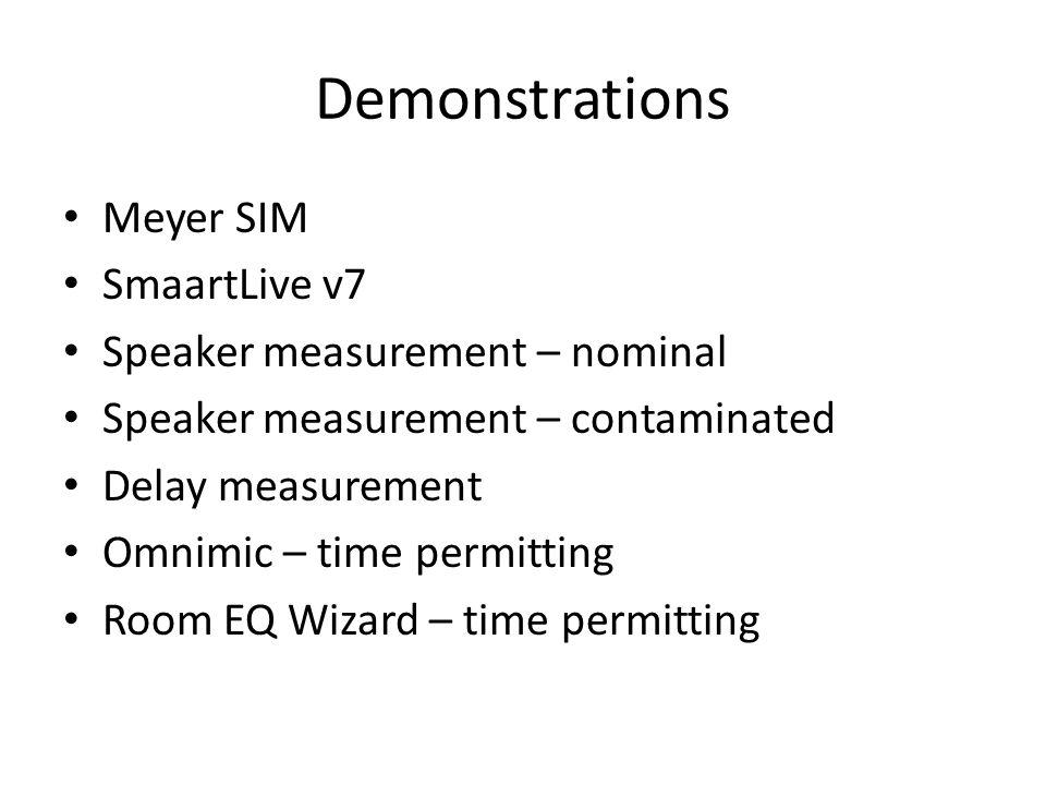 Demonstrations Meyer SIM SmaartLive v7 Speaker measurement – nominal Speaker measurement – contaminated Delay measurement Omnimic – time permitting Ro