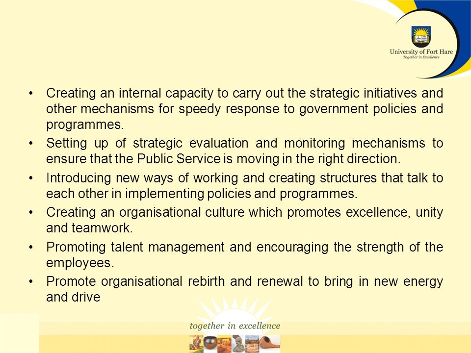 Creating an internal capacity to carry out the strategic initiatives and other mechanisms for speedy response to government policies and programmes. S