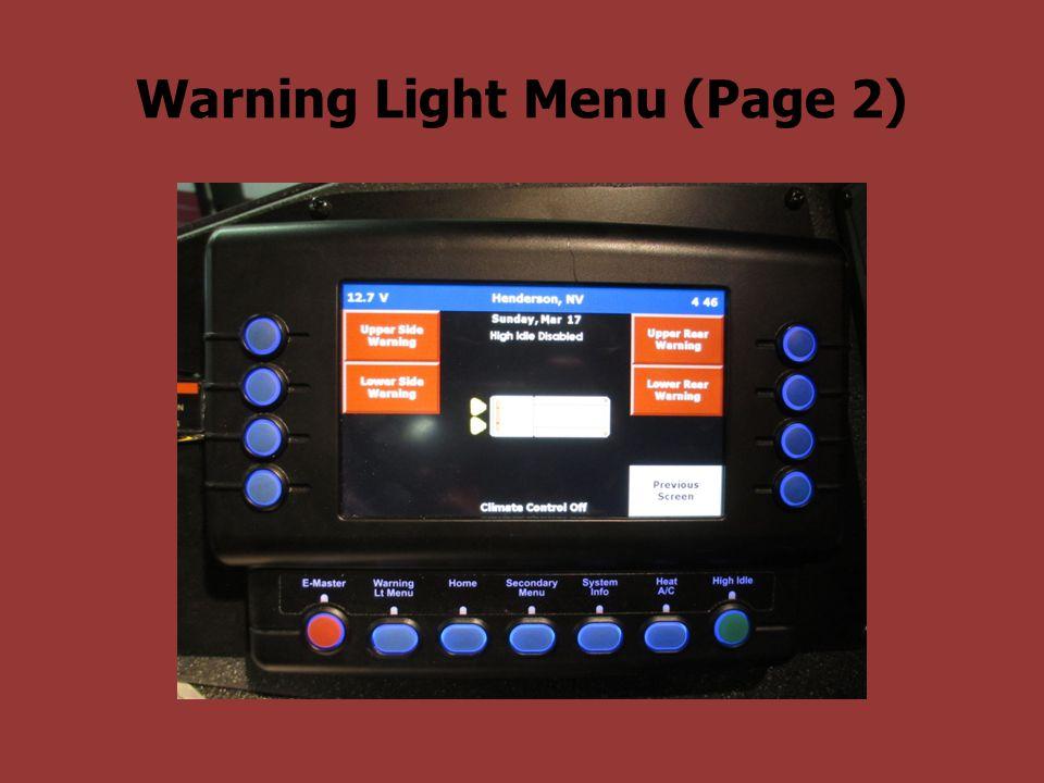 Warning Light Menu (Page 2)