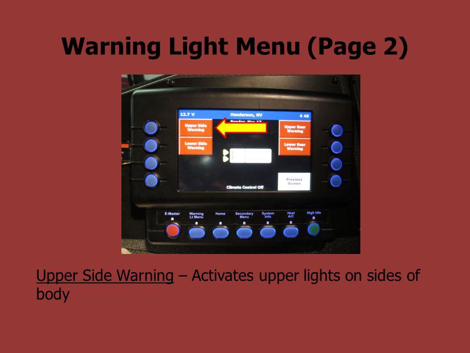 Upper Side Warning – Activates upper lights on sides of body