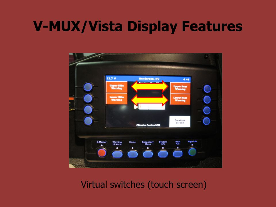 V-MUX/Vista Display Features Physical buttons adjacent to screen