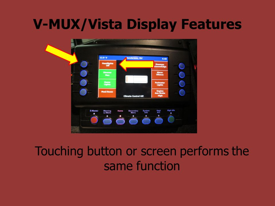 V-MUX/Vista Display Features Touching button or screen performs the same function