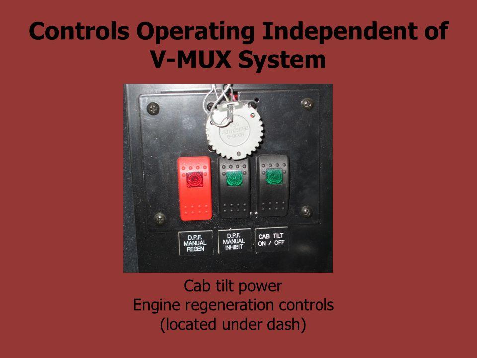 Controls Operating Independent of V-MUX System Cab tilt power Engine regeneration controls (located under dash)