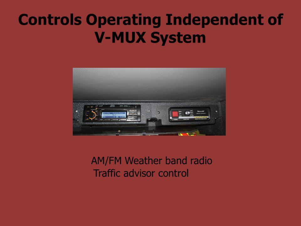Controls Operating Independent of V-MUX System AM/FM Weather band radio Traffic advisor control