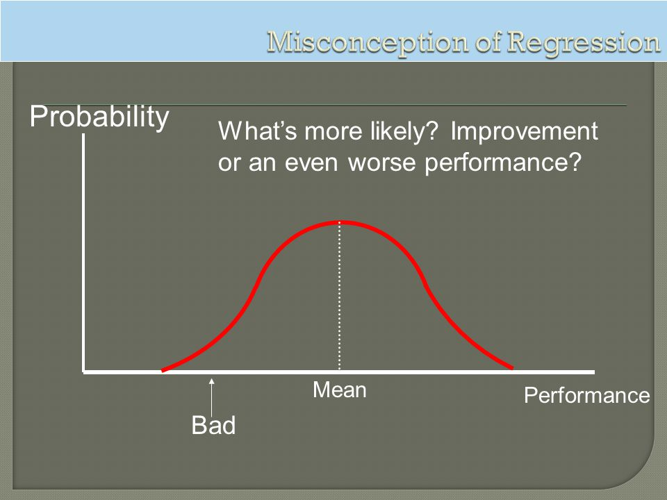Probability Performance Mean Bad Whats more likely? Improvement or an even worse performance?