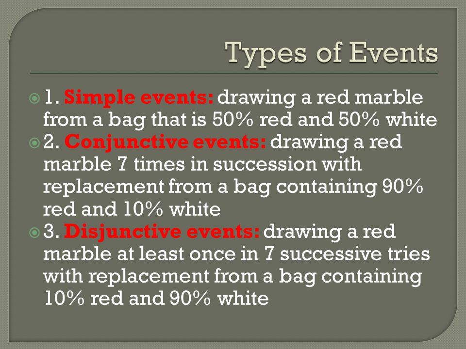 1. Simple events: drawing a red marble from a bag that is 50% red and 50% white 2. Conjunctive events: drawing a red marble 7 times in succession with
