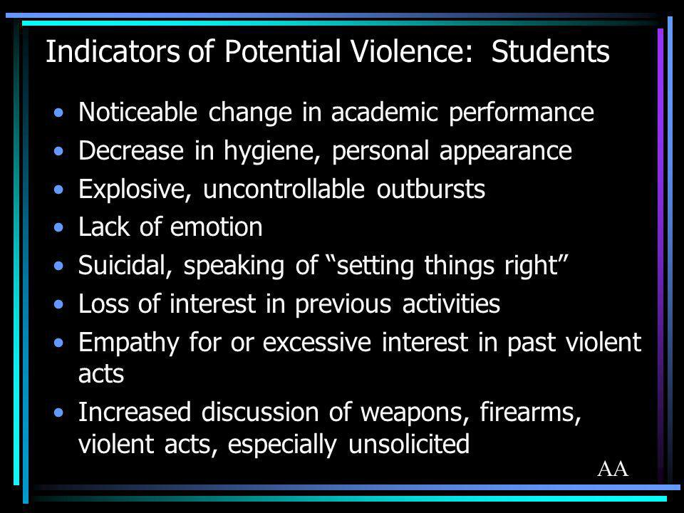 Indicators of Potential Violence: Students Noticeable change in academic performance Decrease in hygiene, personal appearance Explosive, uncontrollabl