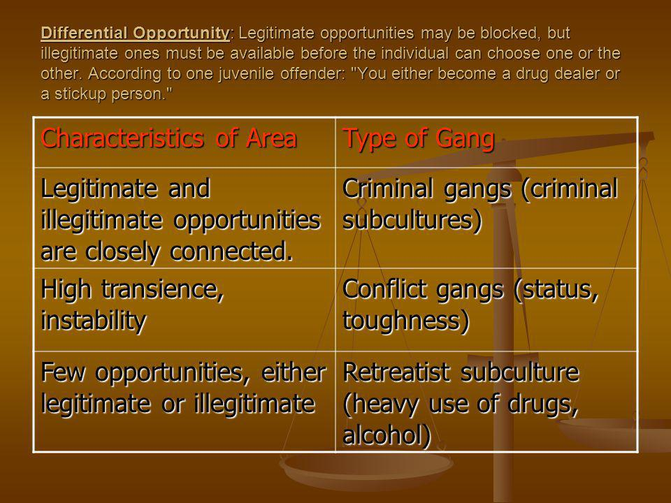 Differential Opportunity: Legitimate opportunities may be blocked, but illegitimate ones must be available before the individual can choose one or the other.