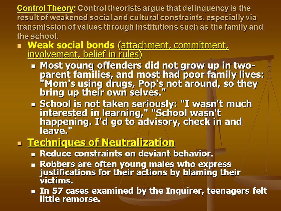 Control Theory: Control theorists argue that delinquency is the result of weakened social and cultural constraints, especially via transmission of values through institutions such as the family and the school.
