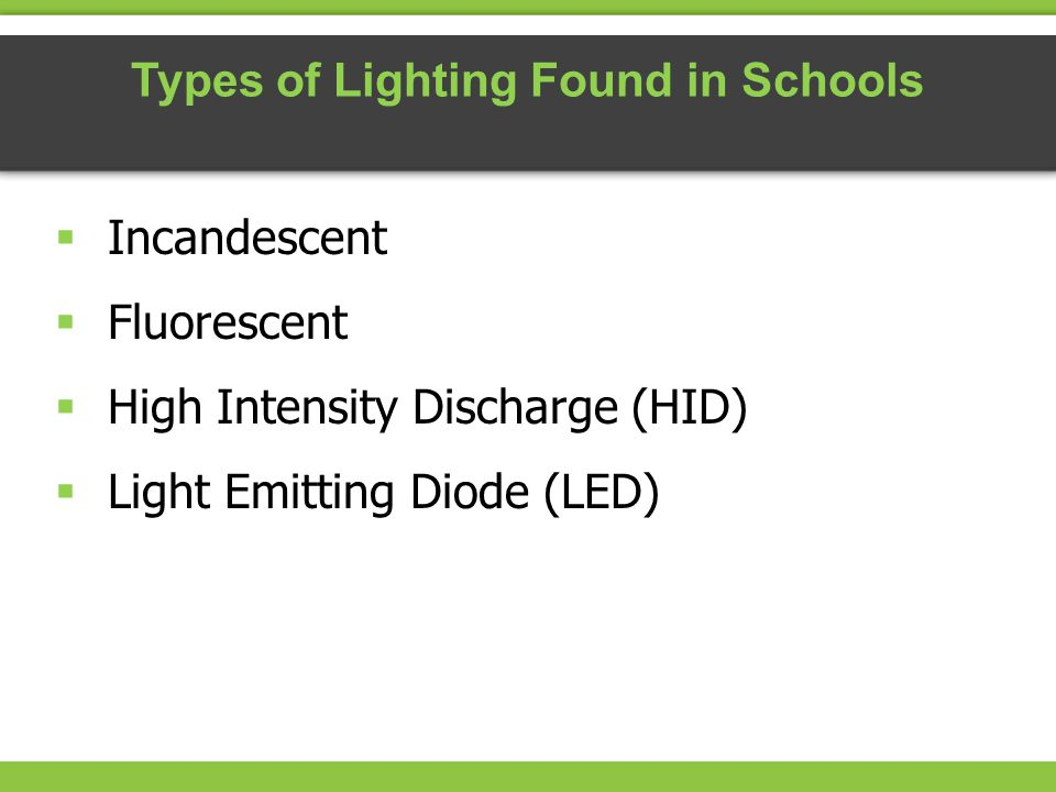 Incandescent Fluorescent High Intensity Discharge (HID) Light Emitting Diode (LED) Types of Lighting Found in Schools
