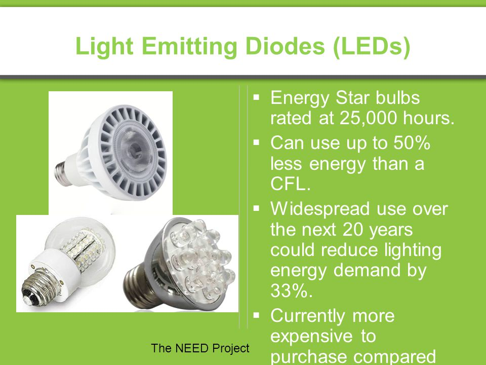 Light Emitting Diodes (LEDs) Energy Star bulbs rated at 25,000 hours. Can use up to 50% less energy than a CFL. Widespread use over the next 20 years