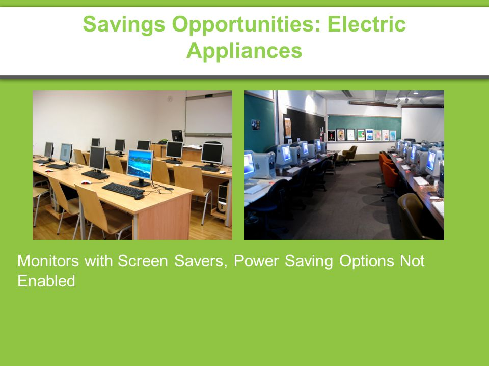 Savings Opportunities: Electric Appliances Monitors with Screen Savers, Power Saving Options Not Enabled
