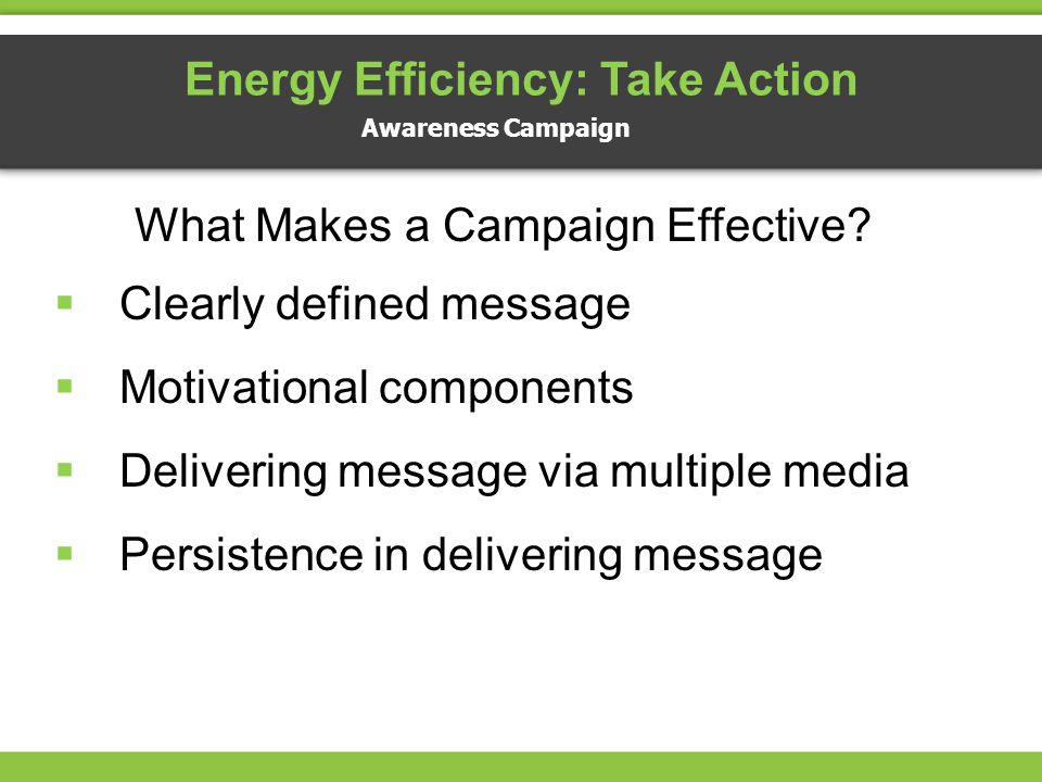 What Makes a Campaign Effective? Clearly defined message Motivational components Delivering message via multiple media Persistence in delivering messa