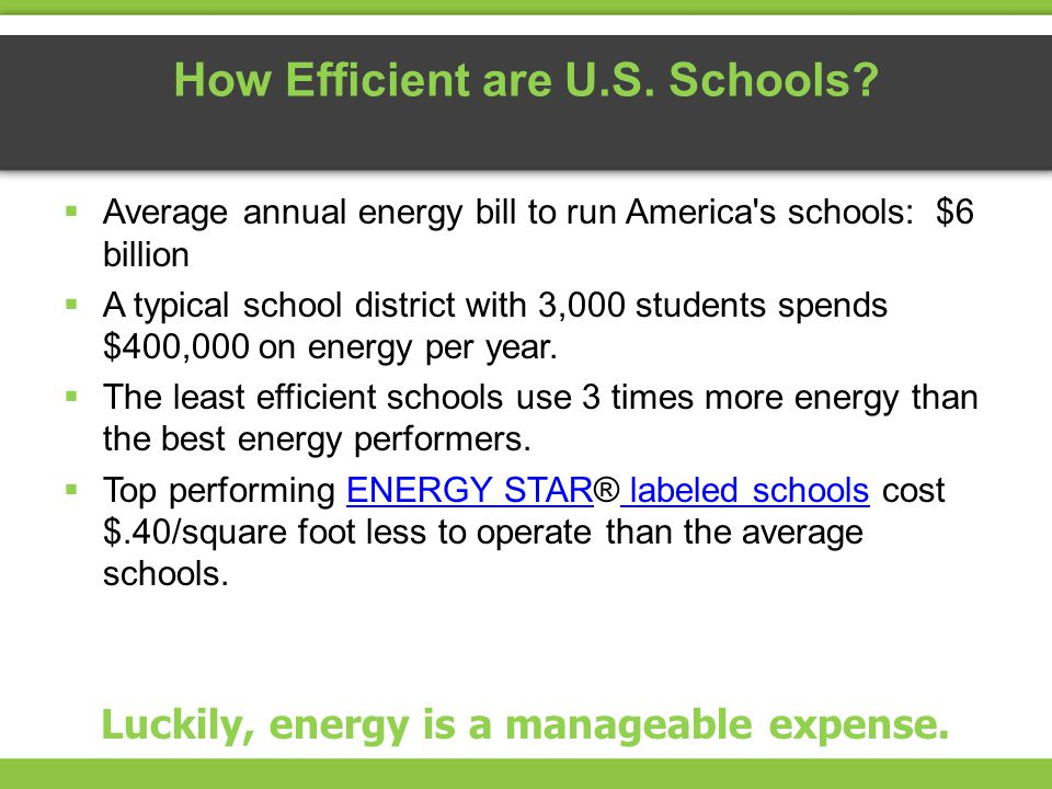How Efficient are U.S. Schools? Average annual energy bill to run America's schools: $6 billion A typical school district with 3,000 students spends $