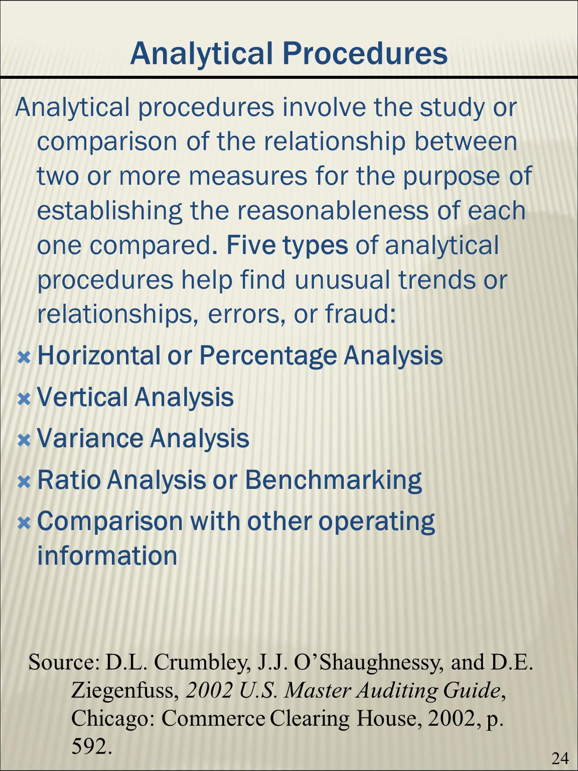 24 Analytical Procedures Analytical procedures involve the study or comparison of the relationship between two or more measures for the purpose of establishing the reasonableness of each one compared.