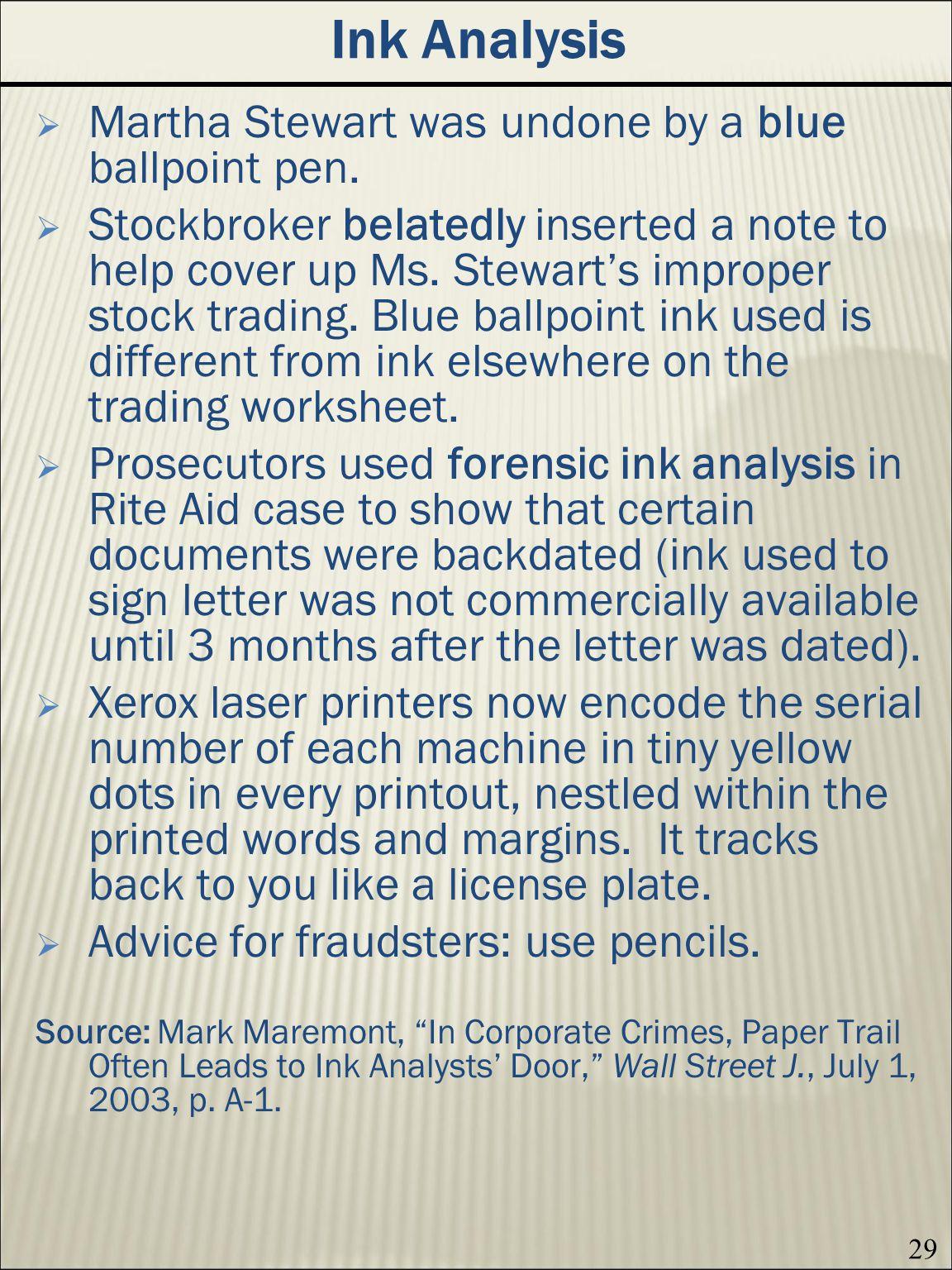 29 Ink Analysis Martha Stewart was undone by a blue ballpoint pen.