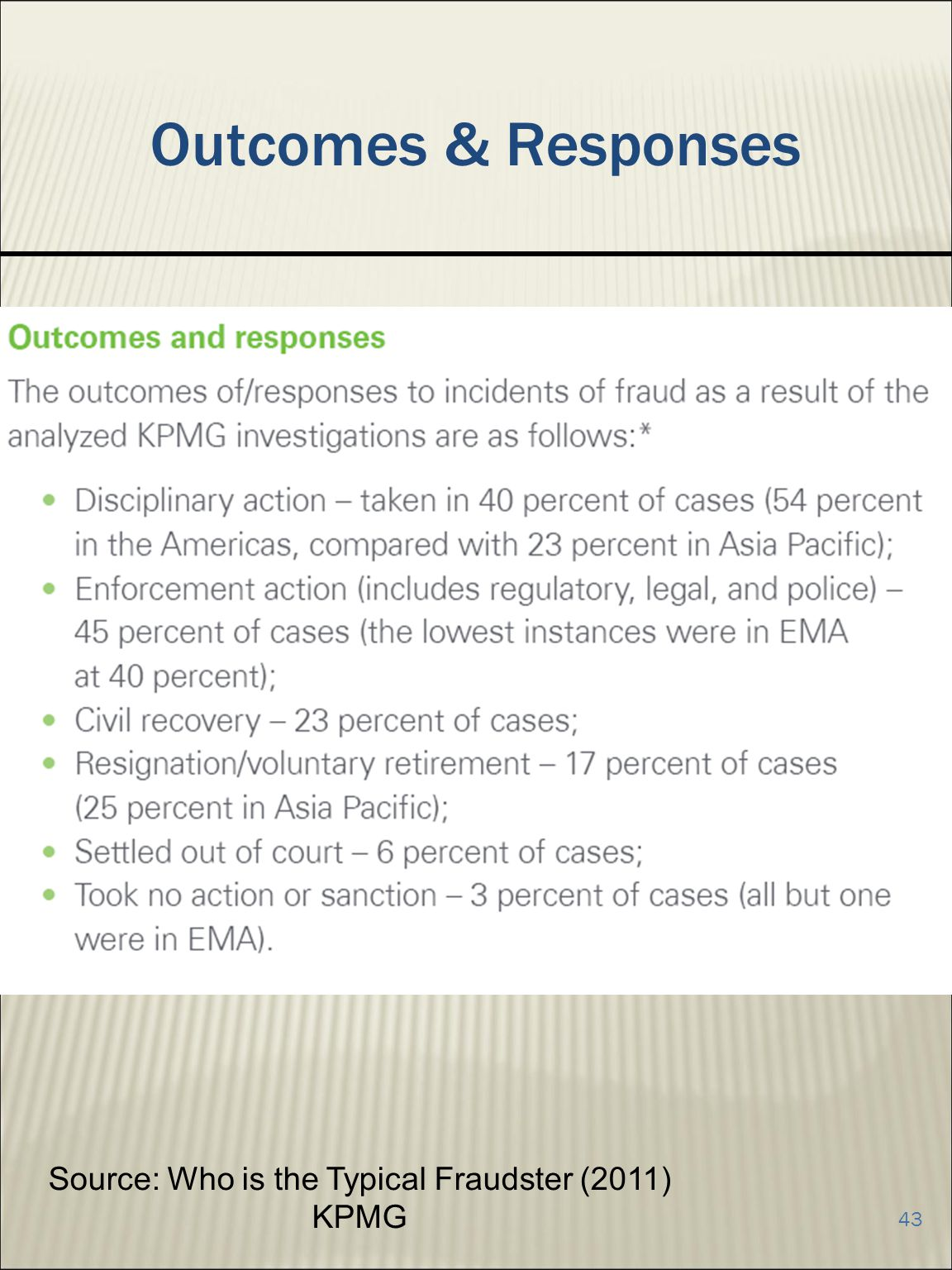 43 Outcomes & Responses Source: Who is the Typical Fraudster (2011) KPMG