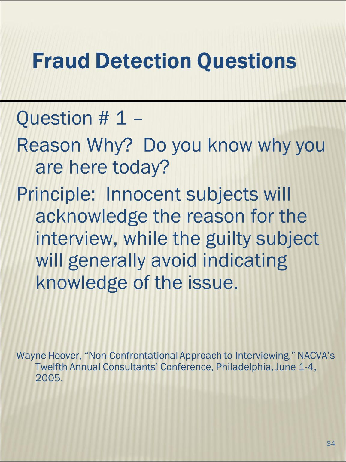 84 Fraud Detection Questions Question # 1 – Reason Why.