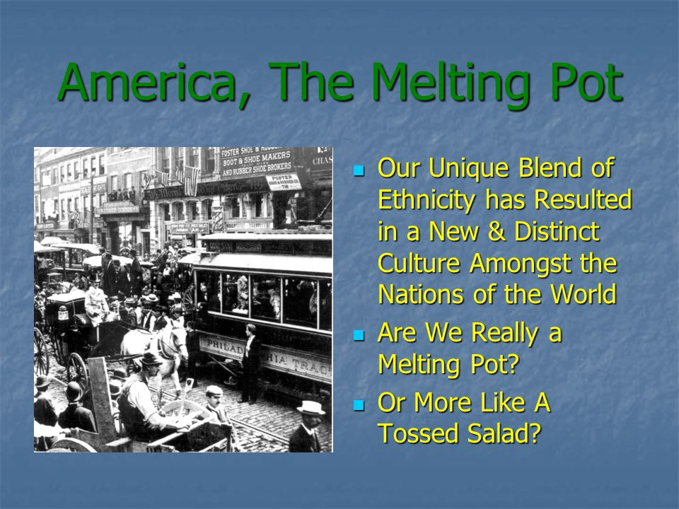America, The Melting Pot Our Unique Blend of Ethnicity has Resulted in a New & Distinct Culture Amongst the Nations of the World Our Unique Blend of Ethnicity has Resulted in a New & Distinct Culture Amongst the Nations of the World Are We Really a Melting Pot.
