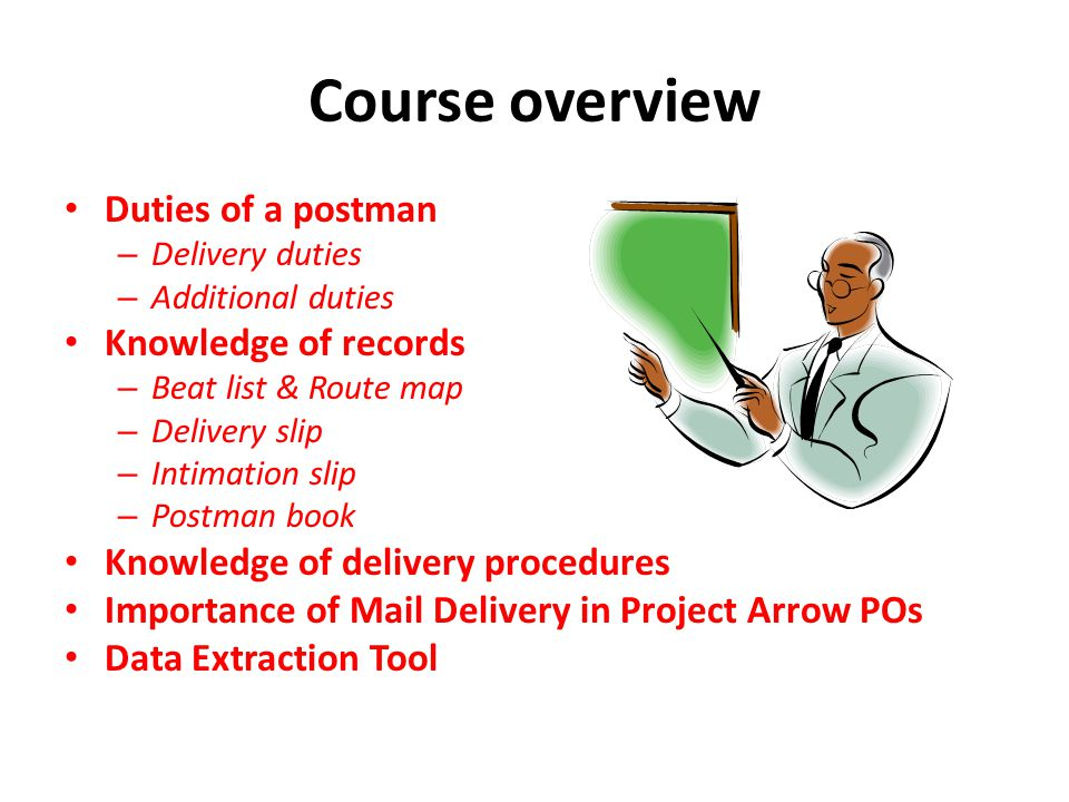 Course overview Duties of a postman – Delivery duties – Additional duties Knowledge of records – Beat list & Route map – Delivery slip – Intimation sl
