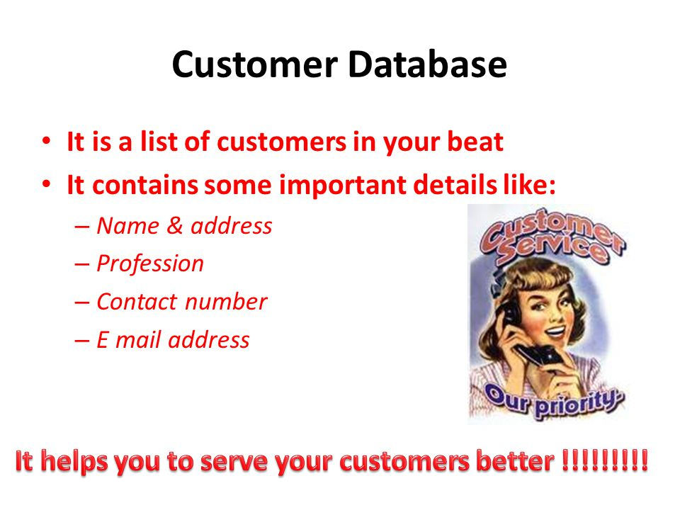 Customer Database It is a list of customers in your beat It contains some important details like: – Name & address – Profession – Contact number – E m